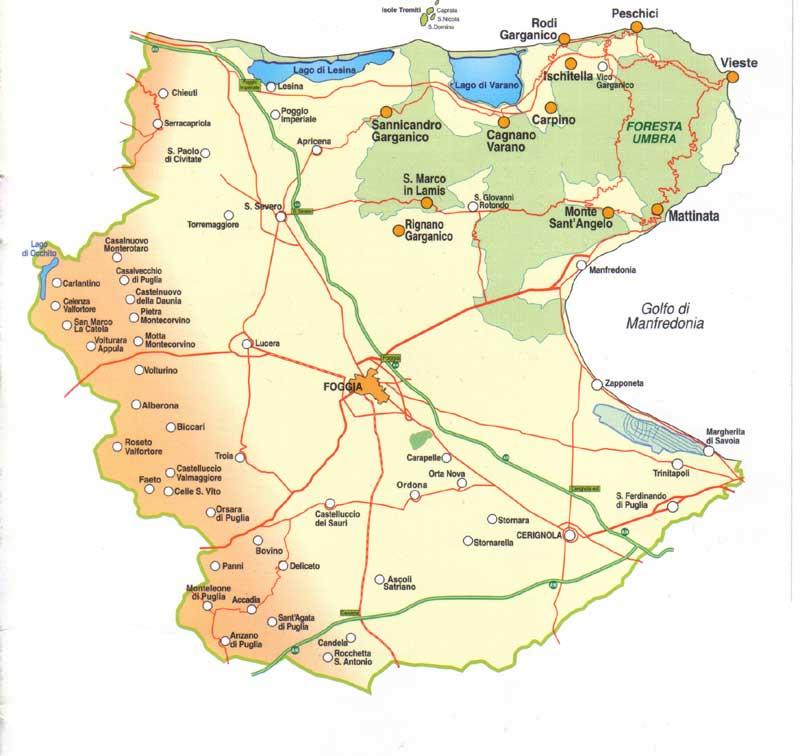 Lavello Potenza Cartina Geografica.Provincia Di Foggia Cartina E Mappa