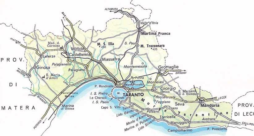 Cartina Puglia Con Province.Provincia Di Taranto