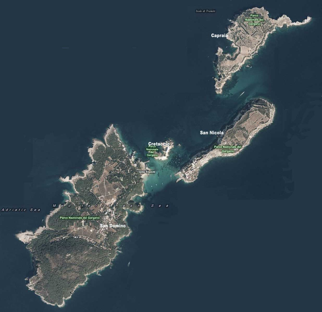 Cartina Puglia Isole Tremiti.Mappa Isole Tremiti